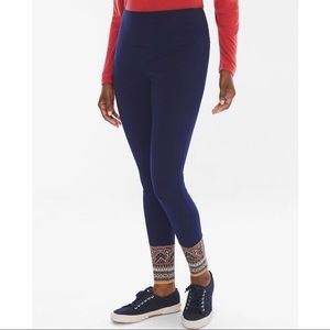 Chico's Zenergy Navy Blue Border Print Leggings